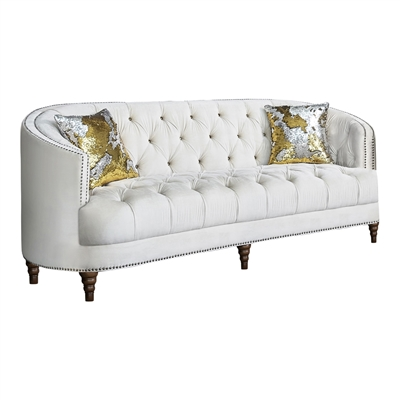 Avonlea Soft Off White Velvet Sofa with Deep Rhinestone Tufting & Silver Turned Feet