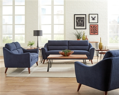 Gano Mid-Century Modern Sofa in Navy Blue