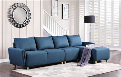 Contemporary Blue Linen Sectional by ACME Furniture