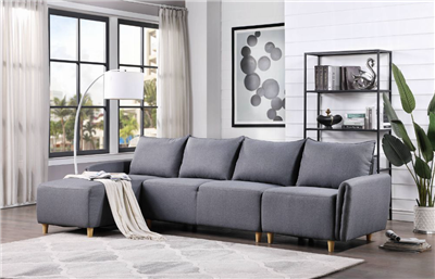 Contemporary Grey Linen Sectional by ACME Furniture