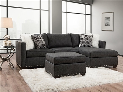Crypton Charcoal Microfiber Sectional - Delta Furniture 5456