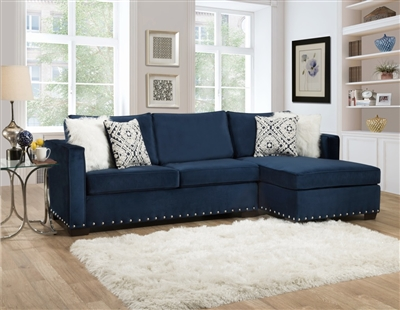 Melon Navy Microfiber Sectional - Delta Furniture 5456