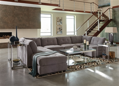 7 Piece Gray Microfiber Modular Sectional