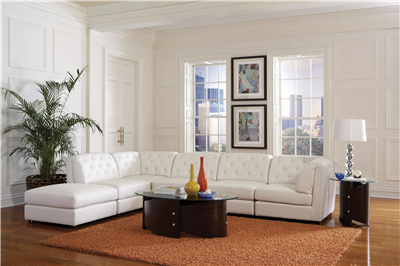 Colt White Leatherette Modular Sectional Sofa