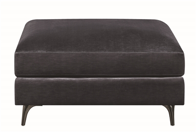 Contemporary Black Velvet Ottoman with Chrome Feet