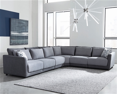 2-Tone Light & Dark Grey Plush Modular Sectional
