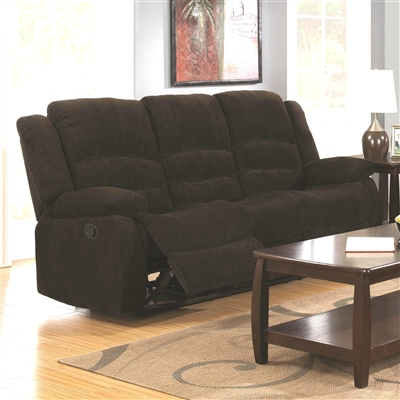 Plush Chocolate Chenille Upholstered Motion Sofa