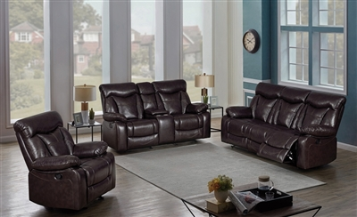 Dark Brown Performance Leatherette Wall-Hugger Motion Sofa