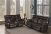 Dark Brown Performance Leatherette Wall-Hugger Motion Sofa & Loveseat Set