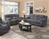 Ultra plush gray textured fleece reclining sofa group