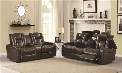 Brown Power Reclining Theater Seating Group