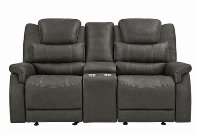 Grey Suede Glider Loveseat with Center Console