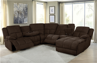 Belize 6-Piece Pillow Top Arm Power Sectional Brown