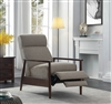 Beige Upholstered Push Back Recliner with Walnut Finish Frame
