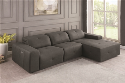 3-Piece Power 3 Reclining Sectional in Grey Micro Denier