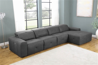4-Piece Power 3 Reclining Sectional in Grey Micro Denier