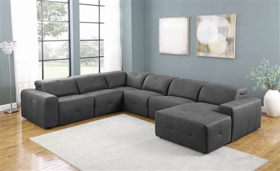 6-Piece Power 3 Reclining Sectional in Grey Micro Denier