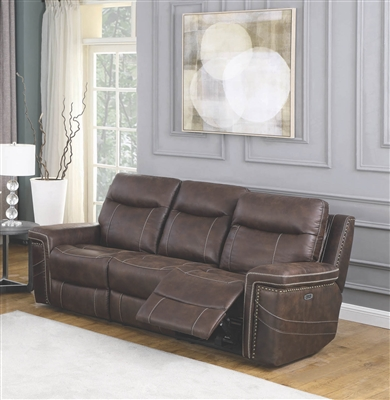 Brown Faux Suede Power Reclining Sofa