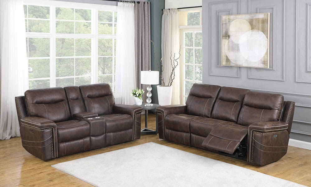 Brown Faux Suede 2 Reclining Sofa