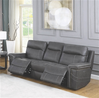Grey Faux Suede Power Reclining Sofa