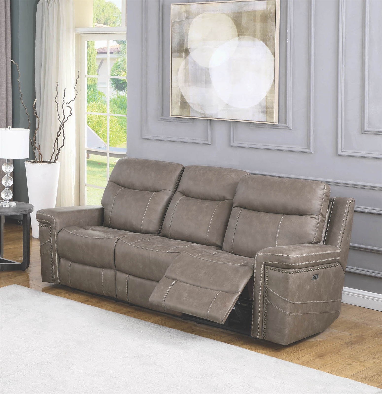 Taupe Faux Suede 2 Reclining Sofa