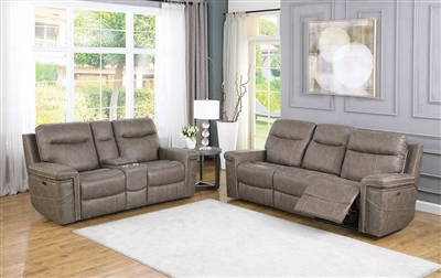 Taupe Faux Suede Power Reclining Sofa