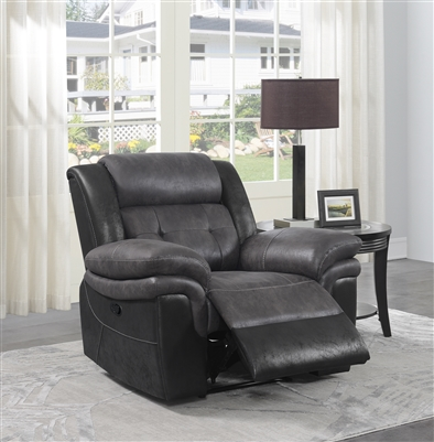 Saybrook Motion Recliner in Grey/Black Microfiber