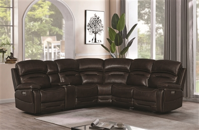 Power Reclining Genuine Leather Sectional