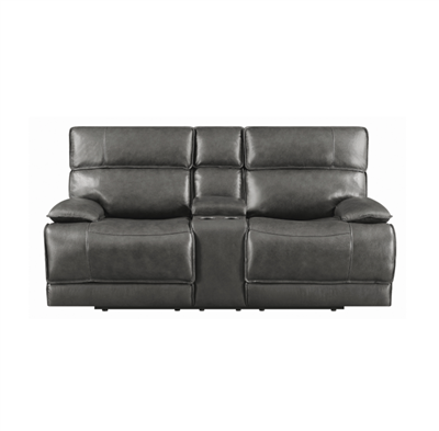 Gray Top Grain Leather Power Reclining Loveseat