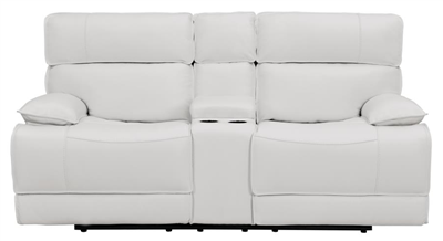 White Top Grain Leather Power Reclining Loveseat