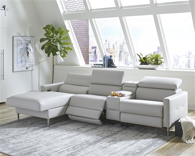Modern Light Gray Power Sectional