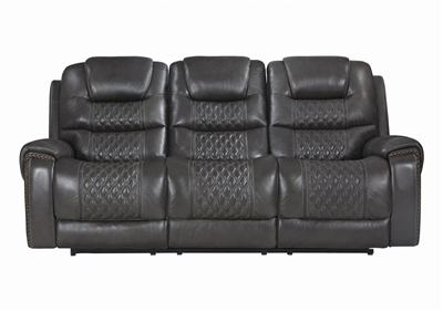 Power Reclining Cushion Sofa in Charcoal Leather