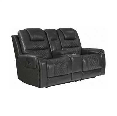 North Cushion Back Power^2 Loveseat With Console Grey
