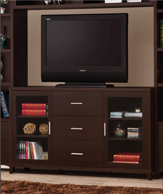 2-Door TV Stand With Adjustable Shelves Cappuccino