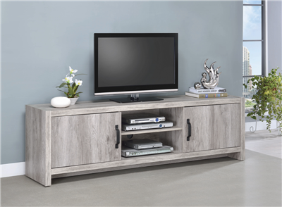 Modern 2-Door TV Console Grey Driftwood