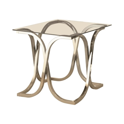 Curved X-Shaped End Table Nickel And Clear - Coaster