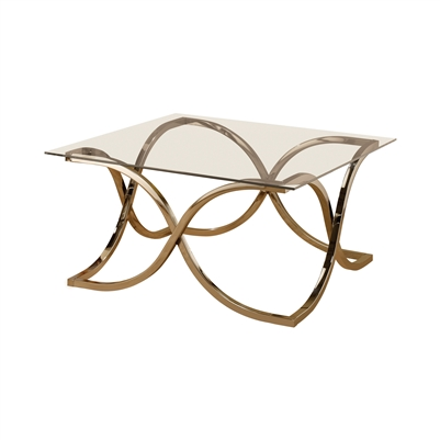 Curved X-Shaped Coffee Table Nickel And Clear - Coaster