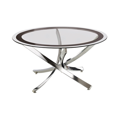 Glass Top Coffee Table Chrome And Black - Coaster