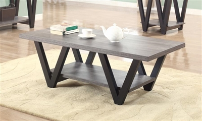 Higgins V-Shaped Coffee Table Black And Antique Grey - Coaster