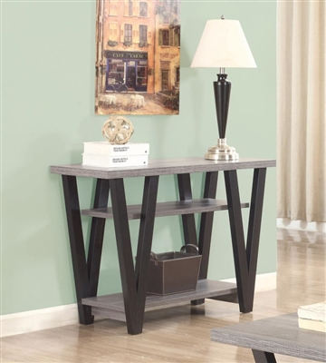 V-Shaped Sofa Table Black And Antique Grey - Coaster