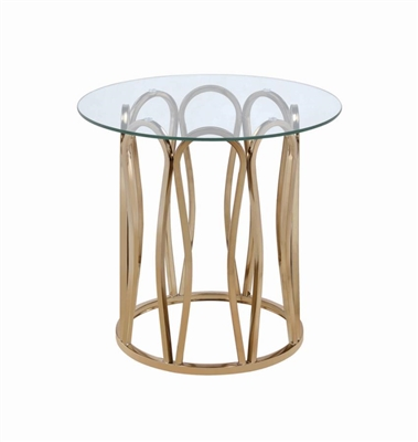 Round End Table Chocolate Chrome And Clear - Coaster