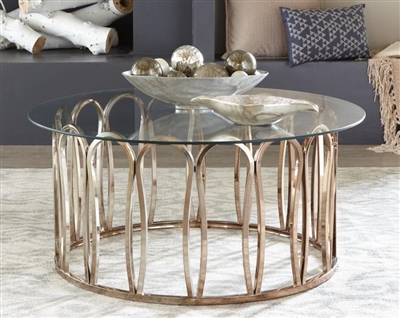 Round Coffee Table Chocolate Chrome And Clear - Coaster