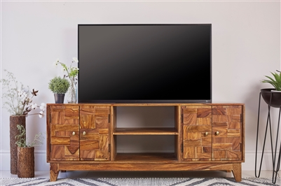 Assam Solid Sheesham TV Console - Hand Crafted in India