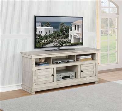 "60"" Rustic TV Console Available in White, Brown, & Gray"