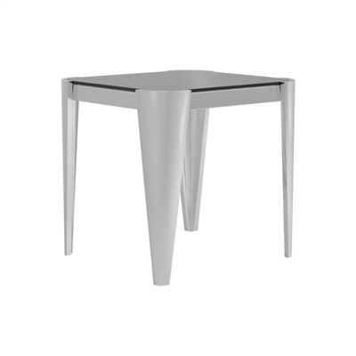 Square Glass Top End Table Silver And Grey - Coaster