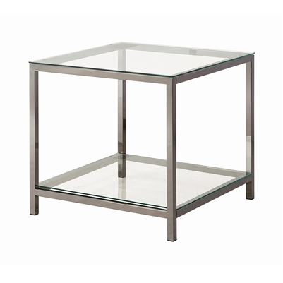 Ontario End Table With Glass Shelf Black Nickel - Coaster