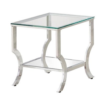 Square End Table With Mirrored Shelf Chrome - Coaster