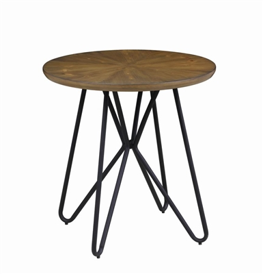 Churchill Round End Table Dark Brown And Black - Coaster
