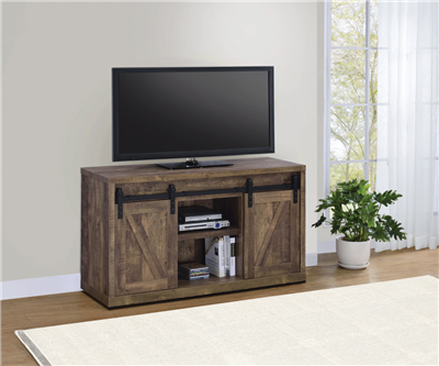 48-Inch 3-Shelf Sliding Doors TV Console Rustic Oak