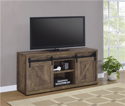 59-Inch 3-Shelf Sliding Doors TV Console Rustic Oak